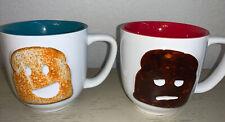 Food Network Stoneware 20 OZ Burnt Toast Red Mug & Teal Toast Mug
