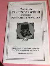 Manuel machine à écrire Underwood four banks, instructions for typewriter porta