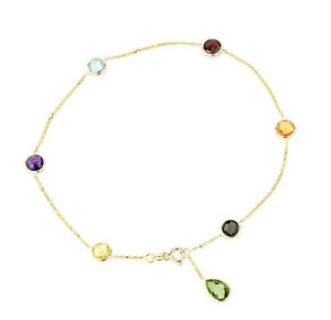 14K Yellow Gold Gemstone Anklet With A Green Amethyst Drop 9.5 Inches