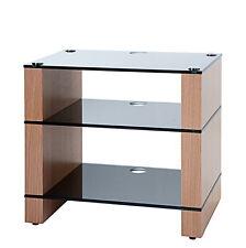 HiFi Stand, AV Hi-Fi Rack, Three Shelf, Natural Oak, Black Glass, STAX 300, BLOK
