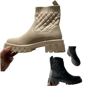 pu quilted sock chunky cleated ankle boots Women wellie boots