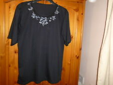 Black short sleeve top, embroidered flower design around neck, UK 14-16