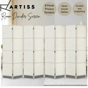 Artiss 8 Panels Room Divider Screen Privacy Rattan Timber Fold Woven White AU