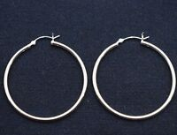 2mm X 40mm Plain Polished Round Hoop Earrings Real Solid 925 Sterling Silver