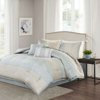 CONTEMPORARY ELEGANT CHIC GEOMETRIC GREY SILVER TAUPE AQUA BLUE COMFORTER SET