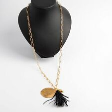 STELLA & DOT Vintage Gold CARLA Navy Blue Tassel Pendant Necklace NEW