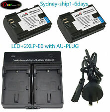 ^_^AU-ship Dual Charger +2xBattery LP-E6N for Canon EOS 70D 80D 5D 6D 7D Mark II