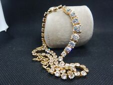 VINTAGE JEWELLERY SIGNED MONET SPARKLING CLEAR CRYSTAL NECKLACE