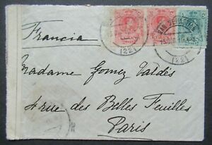 1915 CENSORED COVER FROM SPAIN ESPANA TO PARIS FRANCE B378.12 START $0.99