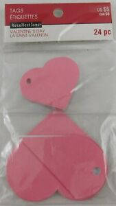 Recollections Valentine's Day Gift Tags New Pink Hearts 2 Sizes 24 PC