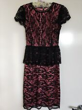 ORIGINAL Alannah Hill Black Lace with Pink under layer Formal Dress - Size : 8