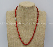 Beautiful 4mm & 5x9mm Natural Red Coral Round / Rice Beads Necklaces 14-36''