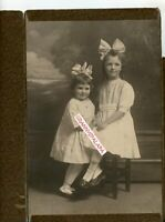 "Antique Photo 11"" x 7"" - Adorable 2 Lil Girls Wearing Lockets & Huge Hair Bows"
