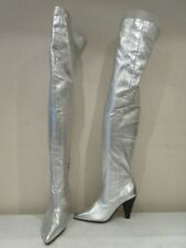 TOPSHOP SILVER LEATHER OVER KNEE PULL ON BOOTS UK 4 EU 37 (3358)