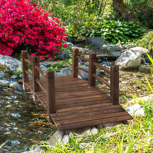 Outsunny Wooden Garden Bridge Lawn Décor Stained Finish Arc Outdoor Pond Walkway