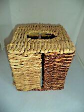 Wicker Rattan Woven Natural Tissue Box Cover Holder Beach, Cabin,  Bath Decor