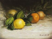"New Original Oil Painting Still Life Realism Lemon leaves 9x12"" Signed"