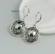 Costume Fashion Earring Hook Silver Round Drop Carved Filigree Pendant Retro D9