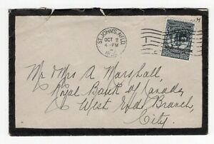 Newfoundland - St Johns 1920 Colony Seal OVPT - Local Mourning Cover -Rough Open