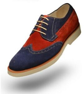 Men Handmade Shoes Two Tone Suede Leather Wingtip Red & Blue Formal Wear Boots