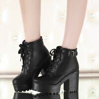 Women Chunky Heel Round Toe Platform Lace Up Punk Goth Creeper Ankle Boots Shoes