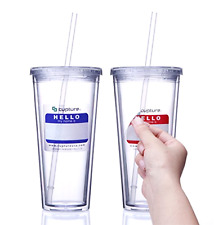 Insulated Double Wall Tumbler With Lid Reusable Straw And Name Tags 24OZ 2 Pack