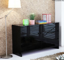 High Gloss 6 Chest Drawers Dressers Cabinet Storage Buffet Sideboard Table Black
