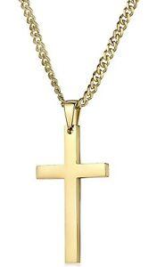 Riveting jewelry 24 k gold Cross pendent Necklace Men women urban link 22 Inch