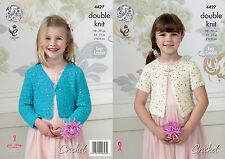 King Cole Double Knit Easy Crochet Pattern Girls Cropped Cardigan Galaxy DK 4427