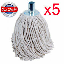 More details for 5 x heavy duty cotton mop heads replacements metal socket 16py cotton rich 250gm