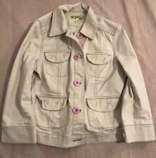 SIGRID OLSEN OFF WHITE JEAN JACKET PINK BUTTONS BEAUTIFUL SIZE 8