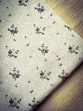 Chabby Chic floral Natural LINEN - Cotton Fabric. Price per 1/2 meter