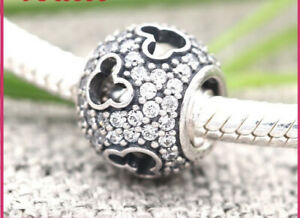 MICKEY MOUSE SILHOUETTE CZ PAVE BALL CHARM GENUINE STERLING SILVER S925