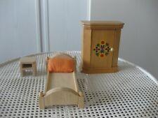 Puppenmöbel für Puppenhäuser - 4-teiliges Schlafzimmer aus Holz