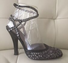 Alberta Ferretti Black Pewter Shoes Heels Pumps With Studs 38.5