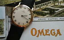 Beautiful Authentic Ultra Thin OMEGA 14 Karat Gold Mens Wrist Watch