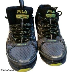 ALL TERRAIN FILA Young boys sz 2 1/2 US dark grey Mesh sneaker 15
