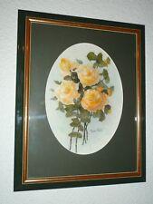 """Aquarelle """"Bouquet de roses"""" signé Pierre PIOT artprice signed watercolors 水彩签名"""