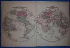 Vintage 1863 World Hemispheres Map ~ Old Antique Original Atlas Map
