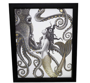 Mermaid and Octopus Original Wall Art Decor Gold Foil Home Nautical Original