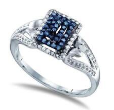 10K White Gold Blue & White Diamond Ring Band Tiered Pagoda Design .16ct