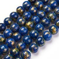 50 Edelstein Perlen 6mm Goldfluss Quarz Blau Natur Schmuckstein A grade G656#3