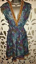 V-Neck Party Paisley Sleeveless Dresses for Women