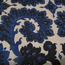 100cm x 100cm BLUE SWIRLS VINTAGE 1960S THAI SILK DRESS FABRIC ETHNIC STYLE
