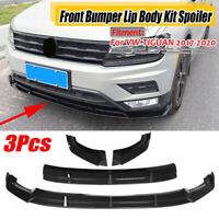 Carbon Black Front Bumper Lip Body Kit Spoiler Splitter For VW TIGUAN 2017-2020