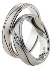 2  Ringe Eheringe Trauringe & Gravur mit 3 Zirkonia