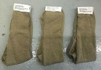 MEN'S THIN KHAKI WOOL / NYLON SOCKS - Size: 7-10 , Pack of 3 , British Army NEW