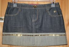 Apple Bottoms  JEAN SKIRT  size 9/10  LOTS of gold rhinestone & sequins  LOT7453