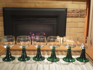 6 X VTG FRENCH LUMINARC ROEMER GREEN BY CRISTAL D'ARQUES GREEN HOCK WINE GLASSES