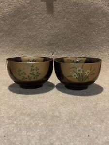 A Set Of Two Black Porcelain Japanese Bowls D13cm